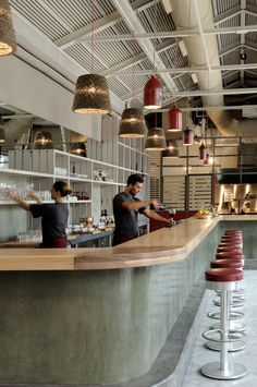 Modern diner with cool urban retro bar Bar Interior, Retail Interior, Restaurant Interior Design, Café Bar, Diner Restaurant, Modern Restaurant, Coffee Shop Design, Cafe Design, Commercial Design