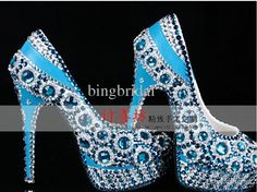 Gorgeous Sparkling Blue Crystal Color Diamond Wedding Shoes High Heels Waterproof Sandal Prom Shoes