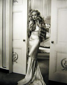 Carole Lombard in stunning satin gown with fur capelet,1930s