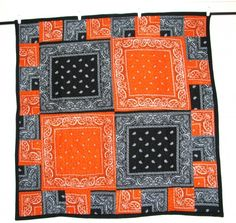 Bandana Quilt - link does not provide instructions. For picture purposes only. Bandana Quilt, Bandana Blanket, Quilting Projects, Quilting Designs, Sewing Projects, Rag Quilt, Quilt Blocks, Bandana Crafts, Bandana Ideas