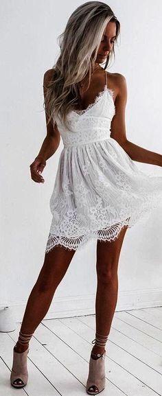 #summer #outfits White Crochet Lace Little Dress  Grey Suede Pumps