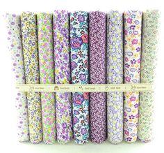 """9 Designs """" fleur pourpre """" coton tissu Fat Quarter Bundle Tilda Scrapbooking Quilting Patchwork couture 50 cm x 50 cm W3B5-5"""