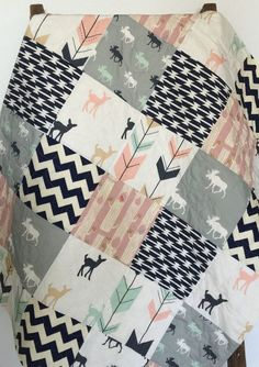Baby Quilt, Girl, Moose, Bow and Arrow, Fawn, Woodland, Birch Forest, Deer, Navy, Mint, Pink, Gray, Crib Bedding, Baby Bedding, Children