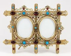 Gorgeous Antique French or Austrian Jeweled Frame, Double Carte de Visite or Miniature