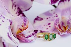 Triple Emerald Engagement Ring | Hammered 18k Gold Ring - Melissa Tyson Designs Organic Engagement Rings, Oval Engagement, When You Love, Green Stone, 1 Carat, Gold Bands, 18k Gold, Emerald, Gemstone Rings