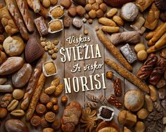 Visko norisi on Behance #food #typography #brown #wood #bread #ad