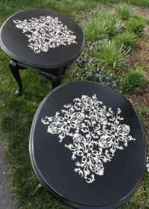 damask stencil on side table
