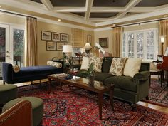 Family room, living room, coffer ceiling, antique rugs, art, daybed, sofa, baby grand piano