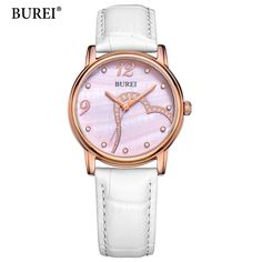 US $61.41 - 2017 BUREI New Fashion Quartz Watches Women White Leather Strap For Elegant Beautiful Ladies In Party Or Daily Life Womens Watch