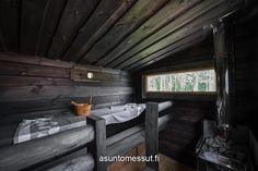 13a - Salvos valmissauna | Asuntomessut Outdoor Sauna, Finnish Sauna, Spa Rooms, Rustic Room, Building Companies, Saunas, Farmhouse Interior, Jacuzzi, Home Deco