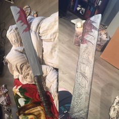 Before and after. My friend needed to borrow this for her Silent Hill Nurse cosplay so did a few touch ups on it so it didn't look so party city XD #animenorth2016 #cosplayprop