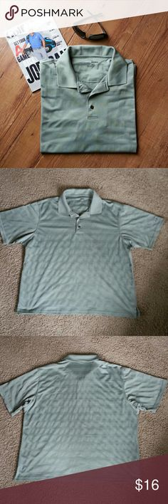 Sage green polo shirt Short sleeves,  sage color, tone on tone stripes.  100% polyester.    Please ask any necessary questions prior to purchasing. No trades.  Save even more with a bundle discount! Grand Slam Shirts Polos
