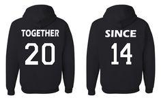 Together Since Matching Couples Sweatshirts Wedding Anniversary Gift Husband Wife Hoodies Black