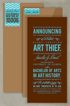 creative #graduation announcement http://www.etsy.com/listing/81090024/typographic-novelist-graduation