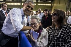 Beautiful! President Barack Obama is kissed by 94-year-old Carolina Garcia Delfin, a Filipina nurse who fought in the resistance against Japanese forces during World War II. The President mentioned her in his remarks to American and Philippine troops at Fort Bonifacio in Manila, Philippines, April 29, 2014.