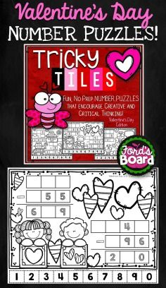 Tricky Tiles is a hands-on number sense activity that incorporates problem solving and mathematical reasoning. Each activity will challenge and engage students as they arrange 10 number tiles (0-9) on a Valentine's Day-themed coloring page so that all equations are correct and/or balanced. Afterwards, students reward themselves for a job well done by coloring the Valentine's Day-themed page!