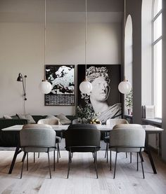 Get inspired by these dining room decor ideas! From dining room furniture ideas, dining room lighting inspirations and the best dining room decor inspirations, you'll find everything here! Dining Room Lamps, Dining Room Lighting, Dining Room Design, Clear Dining Chairs, Ikea Dining Table, Small Chairs, Dining Room Sets, Table Lamps, Kitchen Lighting