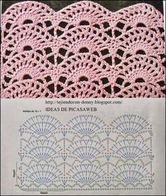 Pattern stitch for s Crochet Edging, Would be Great for shirt tails. This Pin was discovered by Mar 3 Crochet Stitches w/ diagrams. It is a website for handmade creations,with free patterns for croshet and knitting , in many techniques Crochet Diagram, Crochet Chart, Crochet Motif, Crochet Lace, Crochet Hooks, Free Crochet, Patron Crochet, Crochet Flower, Crochet Stitches Patterns
