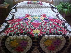 Peacock chenille bedspread - with reds, browns, hearts and flowers