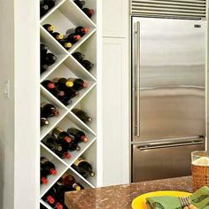 Here's a clever use of a sliver of space: Shelves for short-term wine storage! | Photo: Mark Lohman | thisoldhouse.com