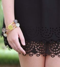 Monogrammed Bracelets from Marley Lilly and Black Lace Skirt from ShopMondayDress