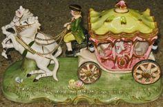 Vintage HIMARK Porcelain Horse Drawn Carriage Figurine Marie Antoinnette #HIMARK