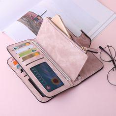 Woman Four Fold Wallet Purse PU Card Bag Multi-Card Slots Phone Bag