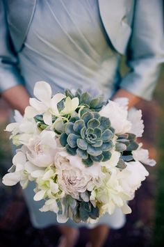 Succulent bouquet via A Paper Proposal. #wedding #flowers #succulents  Love the peonies and succulents