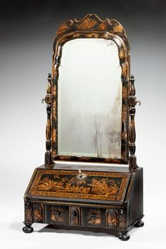 "Queen Anne Period Lacquered Dressing Mirror Ca1710 England. 32.5""H x 17.75""W x 10""D."