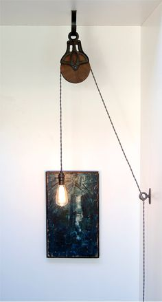 DIY Kit for Antique Cast Iron & Wood Pulley Lamp - Vintage Industrial Edison Fixture