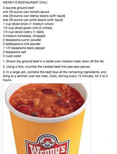 Wendy's Chili recipe try to cut recipe in half, at least. TRIED- Chili turned out good, but it is definitely NOT the same as Wendy's recipe. I have Wendy's chili at least twice a month. Still good chili, but not what you are looking for if y Chilli Recipes, Mexican Food Recipes, Crockpot Recipes, Great Recipes, Soup Recipes, Favorite Recipes, Recipies, Wendys Recipe, Wendy Chili Recipe