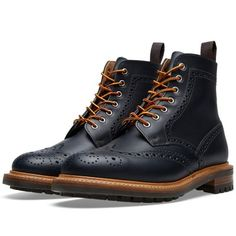 983e22f2ffc MARK MCNAIRY Commando Sole Brogue Boot in Navy Waxy Skinhead Fashion