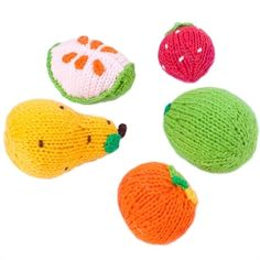 Knit fruit rattles! Set of five, 100% cotton.  Perfect for tempting almost-rolling-over littles.