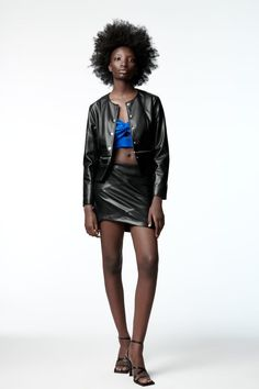Color Negra, Zara United States, Zipper, Long Sleeve, Sleeves, Leather, Jackets, Clothes, Black