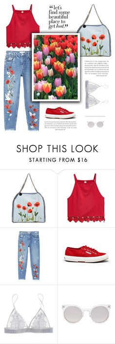 """Wild flower"" by little-vogue ❤ liked on Polyvore featuring STELLA McCARTNEY, MANGO, Superga, Fleur of England, Kosha, red, floralprint and polyvorefashion"