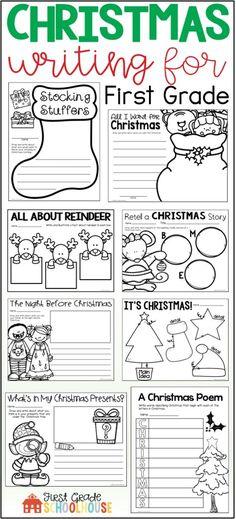 1st Grade Writing Prompts, Christmas Writing Prompts, Holiday Writing, First Grade Writing, Writing Topics, Teaching First Grade, First Grade Classroom, Sentence Writing, Teaching Writing