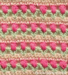 Learn A New Crochet Stitch: Tulips In A Row - http://www.dailycrochet.com/learn-a-new-crochet-stitch-tulips-in-a-row/