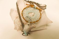 Aqua Sea dream catcher necklace ocean pearl by GlowingHeartStudios
