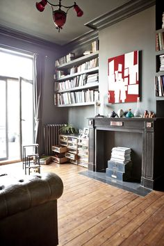my scandinavian home: A vintage inspired home in Brussels.  Love the wall paint colour and the drawers.