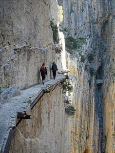 Would you like to go for a walk? No thanks :) El Caminito del Rey (English: The King's little pathway) is a #walkway near Álora in the province of Málaga, #Spain. | From @GuessQuest collection