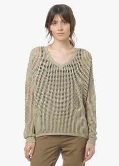Grid Mesh V-Neck Sweater   Vince