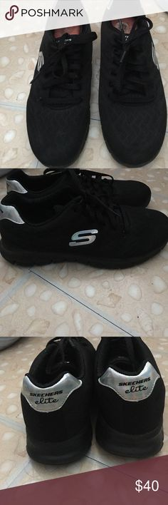 All black Sketchers Sneakers. Worn once All black Elite Sketchers. Practically brand new only worn one time. Super comfy good for standing long hours or a light work out. I ship Everyday except Sunday. Skechers Shoes Sneakers