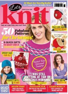 My first design for Let's Knit, a very cute and very simple cat, shown on the cover of Nov 16 issue.
