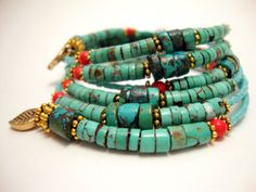 Memory Wire Wrap Bracelet of Natural Turquoise and Coral by ABeadifulDay