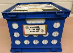 FREE printable labels for a black belt bead and yarn container, a black belt music crate, an extra belt music crate, and an extra belt yarn, bead, and picture icons crate.