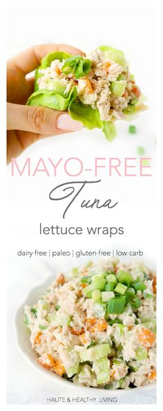These mayo-free, dairy-free and gluten-free Creamy Tuna Lettuce Wraps make such an easy and delicious lunch for those busy days. Make up a batch of the tuna in advance and eat it throughout the week! Perfect to pack in your lunch bag for a lighter lower c Healthy Wraps, Easy Healthy Recipes, Healthy Foods, Dairy Free Recipes, Paleo Recipes, Gluten Free, Cooker Recipes, Seafood Recipes, Tuna Lettuce Wraps