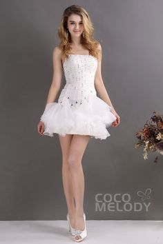 New Design Strapless Short-Mini Organza Zipper Wedding Dress CWZM13002Cocomelody#weddingdresses#bridalgowns#