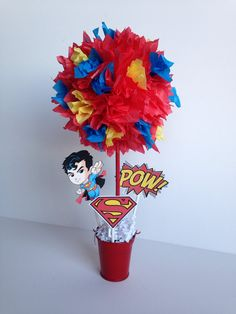 Superman, Super Hero birthday party decorations and centerpieces by AlishaKayDesigns Superman Birthday Party, 1st Birthday Parties, Boy Birthday, Birthday Ideas, Superman Party Decorations, Birthday Party Decorations, Superhero Baby Shower, Superhero Party, Party Time