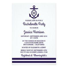 Stripe Monogram Anchor Nautical Bachelorette Party Card