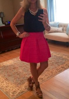 Hot pink box pleat skirt and navy top